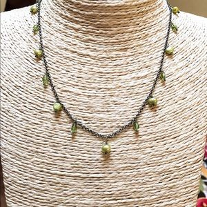 SILPADA Peridot Green Pearl Necklace N1373 Sterlng